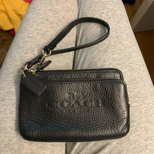 Authentic Coach black pebbled leather wristlet